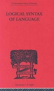 Cover of: LOGICAL SYNTAX OF LANGUAGE (International Library of Philosophy)