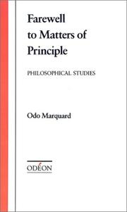 Cover of: Farewell to matters of principle