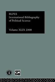 Cover of: International Bibliography of Political Science: International bibliography of the Social Sciences 2000 (International Bibliography of Political Science (Ibss: Political Science))