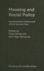 Cover of: Housing and Social Policy