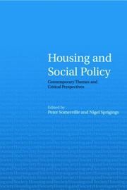 Cover of: Housing and Social Policy | P. Somerville