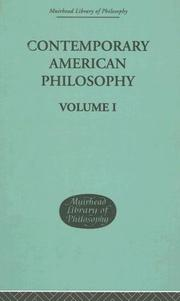 Cover of: Contemporary American Philosophy