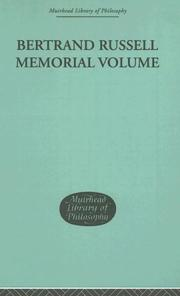 Cover of: Bertrand Russell Memorial Volume (Muirhead Library of Philosophy)