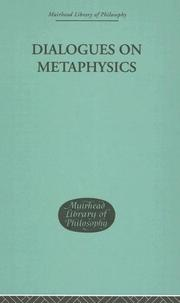 Cover of: Dialogues on Metaphysics (Muirhead Library of Philosophy)