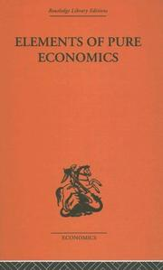 Cover of: Elements of Pure Economics