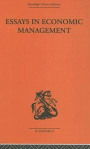 Cover of: Essays in Economic Management | Alec Cairncross