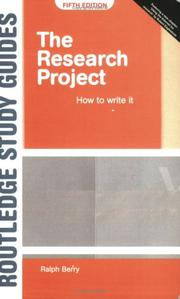 Cover of: The research project |