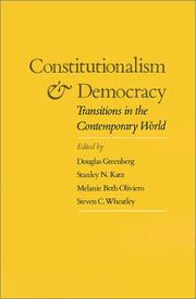 Cover of: Constitutionalism and democracy |