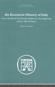 Cover of: An economic history of Italy
