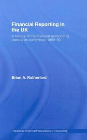 Cover of: Financial Reporting in the UK | B Rutherford
