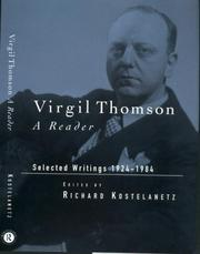 Cover of: Virgil Thomson: A Reader