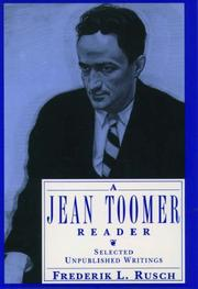 Cover of: A Jean Toomer reader: selected unpublished writings