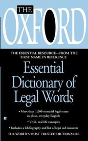 Cover of: The Oxford Essential Dictionary of Legal Words | Oxford University Press