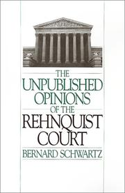 Cover of: The unpublished opinions of the Rehnquist court |