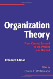 Cover of: Organization theory |
