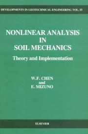 Cover of: Nonlinear analysis in soil mechanics