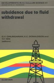 Cover of: Subsidence due to fluid withdrawal by