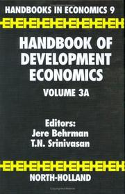 Cover of: Handbook of development economics |