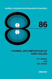 Cover of: Thermal decomposition of ionic solids