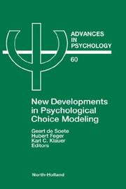 Cover of: New developments in psychological choice modeling