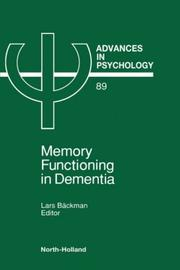 Cover of: Memory functioning in dementia |
