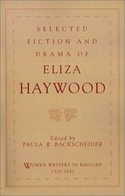Cover of: Selected fiction and drama of Eliza Haywood
