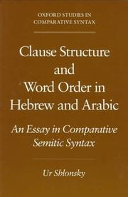 Cover of: Clause structure and word order in Hebrew and Arabic