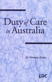 Cover of: Duty of care in Australia