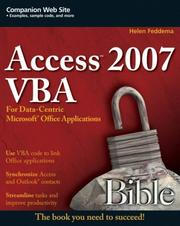 Cover of: Access 2007 VBA Bible | Helen Feddema