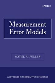 Cover of: Measurement Error Models