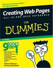 Cover of: Creating Web Pages All-in-One Desk Reference For Dummies (For Dummies (Computer/Tech)) | Richard Wagner