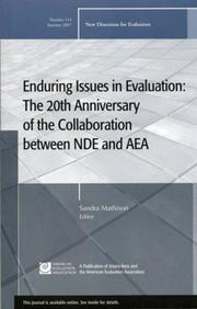 Cover of: Enduring Issues in Evaluation: The 20th anniversary of the Collaboration Between NDE and AEA | l