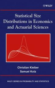Cover of: Statistical Size Distributions in Economics and Actuarial Sciences