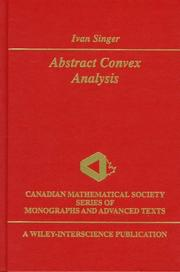 Cover of: Abstract convex analysis