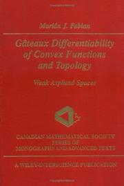 Cover of: Gâteaux differentiability of convex functions and topology