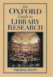 Cover of: The Oxford guide to library research | Mann, Thomas