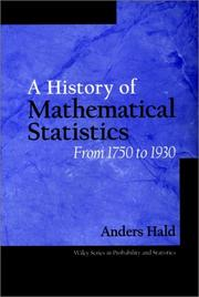 Cover of: A history of mathematical statistics from 1750 to 1930