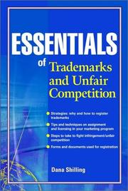 Cover of: Essentials of Trademarks and Unfair Competition