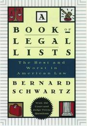 Cover of: A Book of Legal Lists