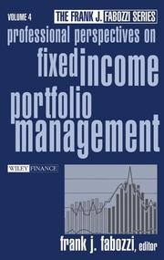 Cover of: Professional Perspectives on Fixed Income Portfolio Management | Frank J. Fabozzi