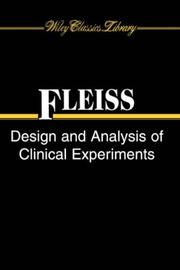 Cover of: The design and analysis of clinical experiments