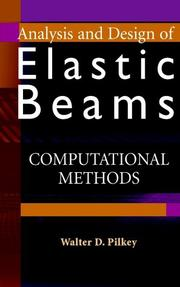 Cover of: Analysis and design of elastic beams: computational methods