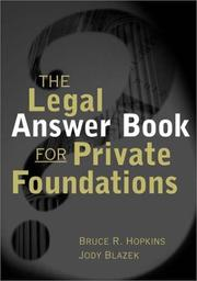 Cover of: The legal answer book for private foundations