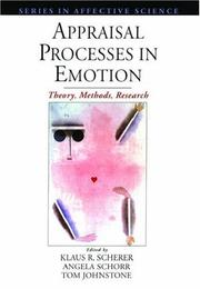 Cover of: Appraisal processes in emotion |
