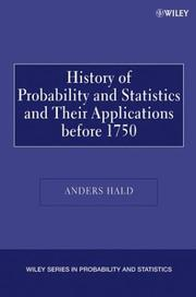 Cover of: A History of Probability and Statistics and Their Applications before 1750