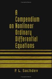 Cover of: A compendium on nonlinear ordinary differential equations