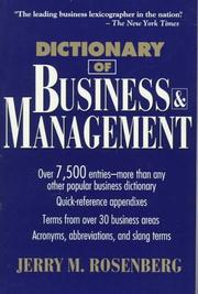 Cover of: Dictionary of business and management