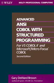 Cover of: Advanced ANSI COBOL with structured programming