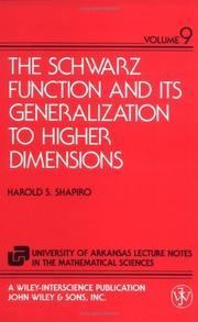 Cover of: The Schwarz function and its generalization to higher dimensions