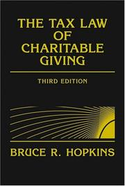 Cover of: The tax law of charitable giving